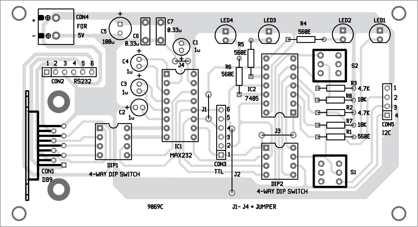 Electronics Projects Configurable Rs232 To Ttl I2c Adaptor Sine Wave Converter Circuit Diagram Fig 3 Component Layout Of The Pcb