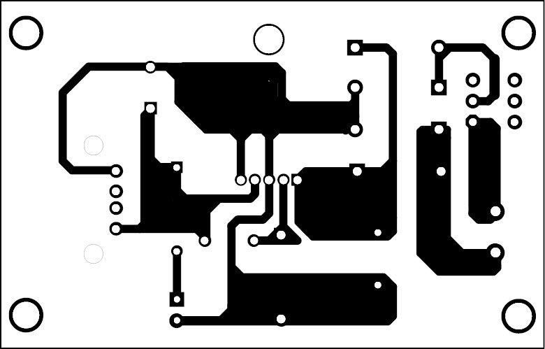 Fig. 2: Actual-size PCB layout of the bicycle USB charger