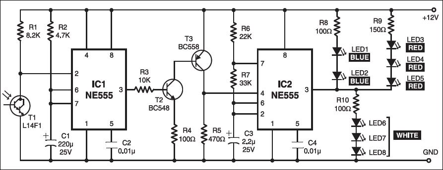 Fig. 1: Circuit diagram of highway alert signal lamp