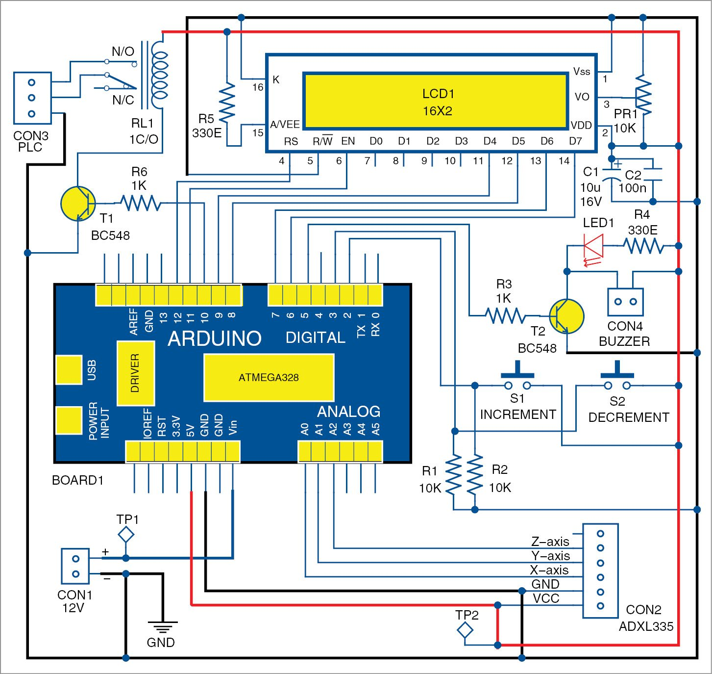 Earthquake Indicator Using Arduino Circuit With Full Explanation Digital Compass Diagram Of The