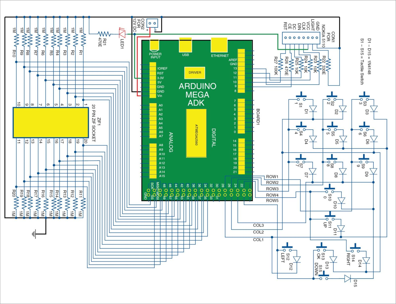 3: Circuit diagram of the arduino based digital IC tester