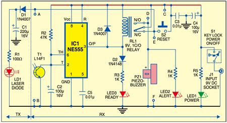 Fig. 1: Circuit of driveway alarm