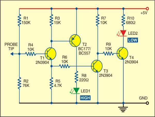 Fig. 1: Circuit of transistorised logic probe