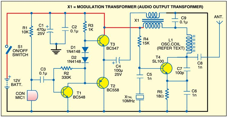 crystal am transmitter detailed circuit diagram available rh electronicsforu com am transmitter circuit diagram using 741 op-amp am transmitter circuit diagram for mini project