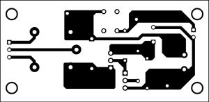 Fig. 2: An actual-size, single-side PCB for the power-saving relay driver