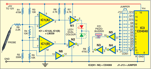 Fig. 1: Circuit for audible logic probe