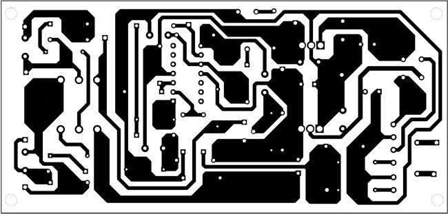 Fig. 3: An actual-size, single-side PCB for the pulse generator