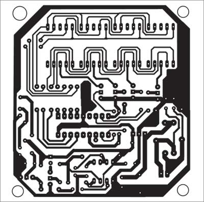 Fig. 9: Actual-size, single-side combined PCB layout for infrared interruption counter, power supply and beeper