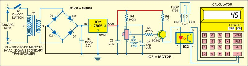 Fig. 2: Infrared Object Counter: Receiver-cum-counter circuit