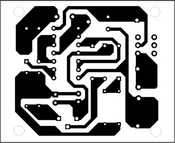 Fig. 2: An actual-size, single-side PCB for transistor polarity checker