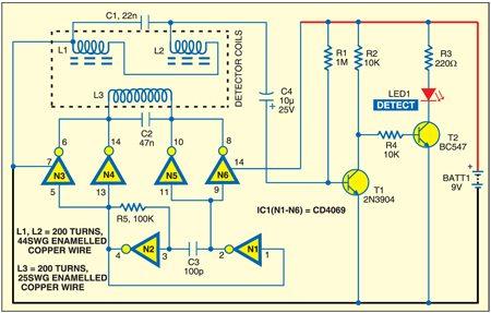 Fig. 1: Metal detector circuit