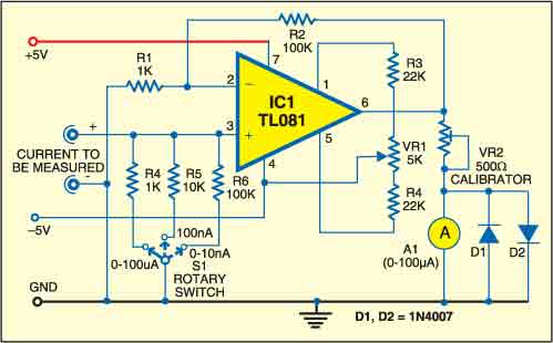 Fig. 1: Circuit of nano-ampere meter