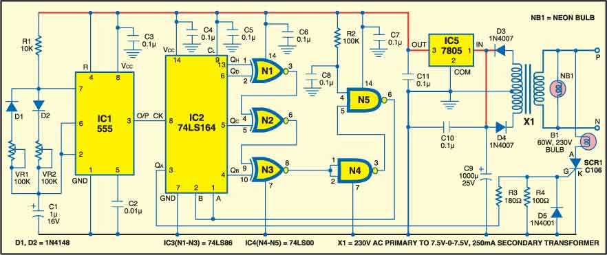 1: circuit diagram for electronic candle