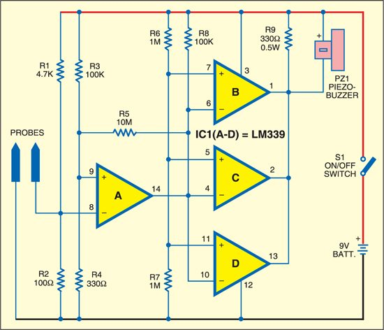 Continuity Tester Circuit : Audible continuity tester detailed circuit diagram available