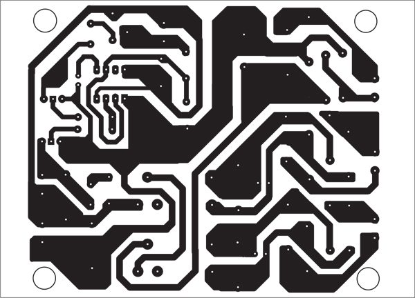 Fig. 2: Actual-size, single-side PCB layout of Fig. 1