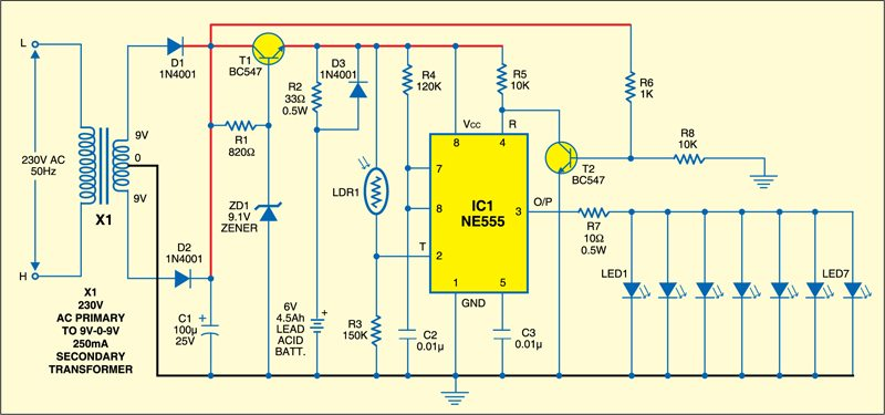 smart emergency light full circuit diagram with explanation rh electronicsforu com emergency light circuit diagram without transformer emergency tube light circuit diagram