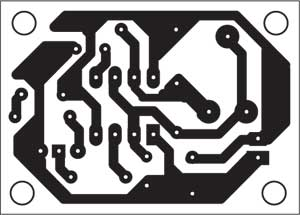 Fig. 7: Actual-size, single-side PCB for IR transmitter