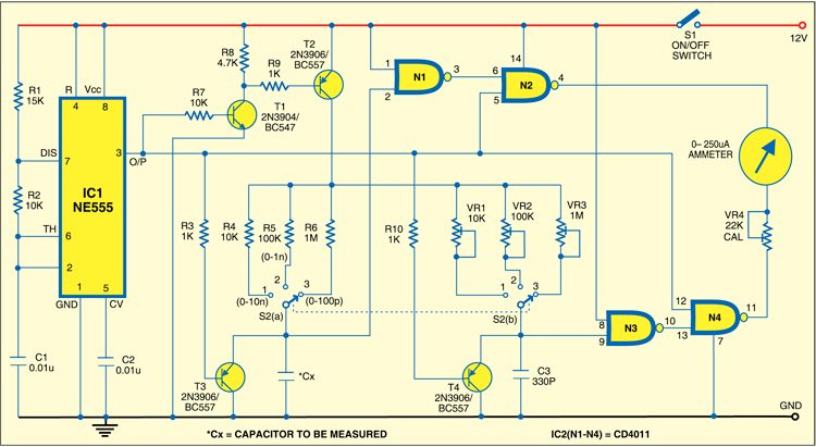 Fig. 1: Circuit diagram of analogue capacitance meter