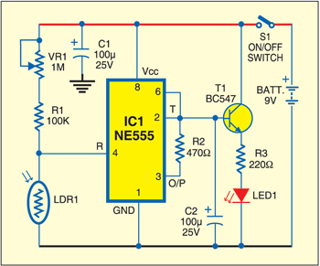 Fig. 1: Circuit of active reflector for pedestrian safety