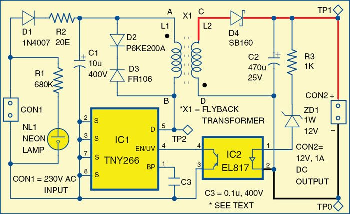 Simple 1A, 12V SMPS | Full Circuit Diagram with Explanation
