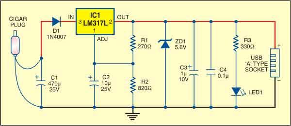 usb power socket detailed circuit diagram available rh electronicsforu com usb power socket circuit diagram USB Cable Pinout Diagram