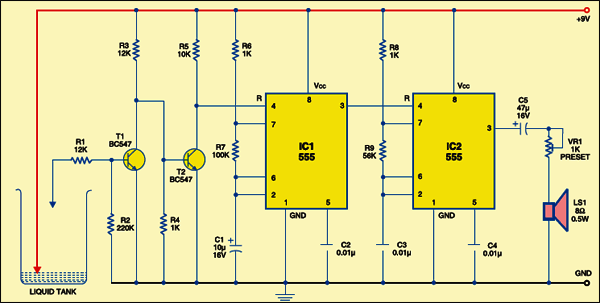 water overflow alarm circuit