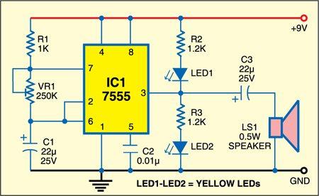 Fig. 1: Circuit of tick-tock sound generator