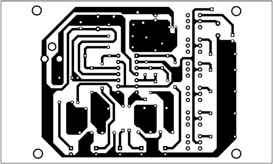Fig. 2: An actual-size, single-side PCB for the temperature monitor for electronic equipment