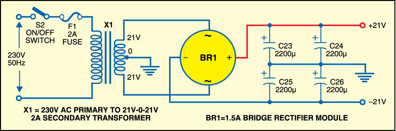 Fig.2: Power supply circuit of stereo brick amplifier