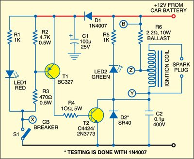 1: circuit diagram of electronic ignition for old cars