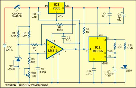 Battery Low Indicator Full Circuit Diagram With Explanation