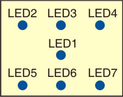 Fig. 1: Suggested LED arrangement for electronic dice display