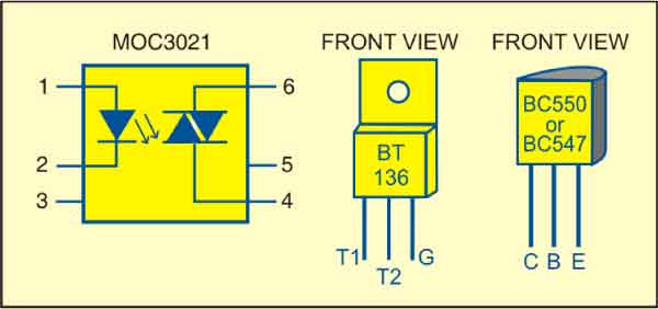 Fig. 2: Pin configurations of MOC3021, BT136 and BC550/547