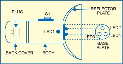 rechargeable torch based on white led electronics for you fig 2 suggested enclosure for the torch