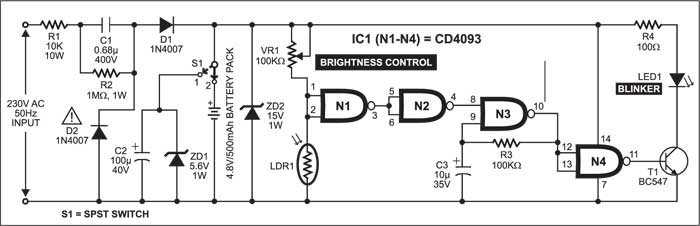 Fig. 1: Circuit diagram of twilight lamp blinker
