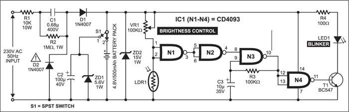 Fig. 1: Circuit diagram of twilight lamp blinker