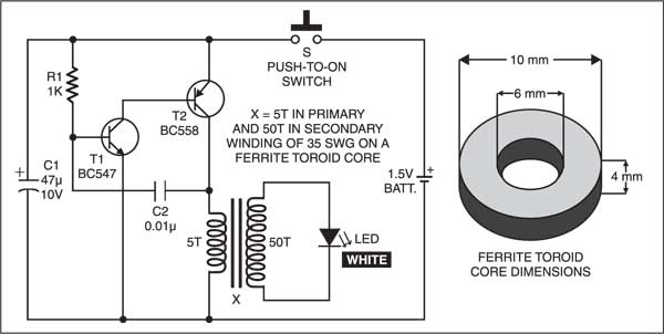 Fig. 1: Circuit for key chain light