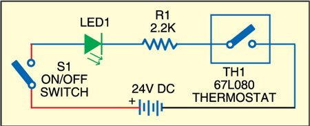 Fig. 1: Circuit for showing over-heating status of the pipe through LED