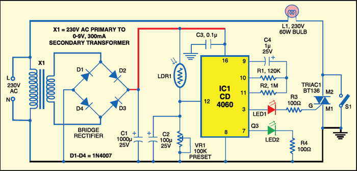 night security light detailed circuit diagram available rh electronicsforu com One Circuit Diagram Multiple Lights On Simple Light Bulb Circuit Diagram