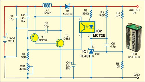 9V Converter Using Two AA Cells | Electronics For You