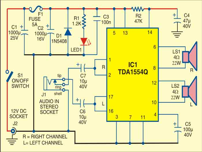car stereo player circuit detailed circuit diagram available rh electronicsforu com audio compressor schematic diagram audio amplifier schematic diagram pdf