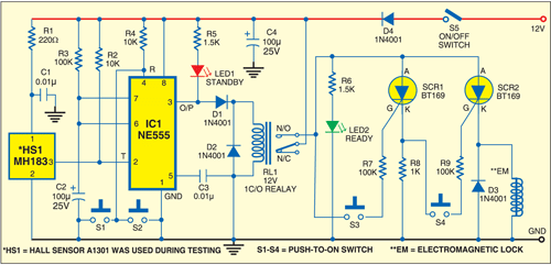 Fig. 1: Circuit of sensor-based door lock