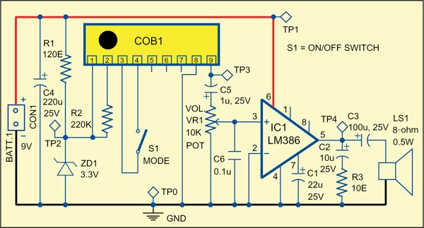 Fig. 1: The bhajan and mantra chanting amplifier circuit