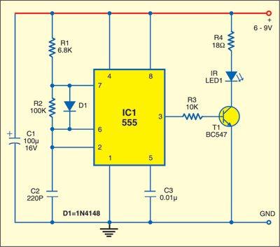 Fig. 1: Infrared Burglar Alarm: Transmitter circuit