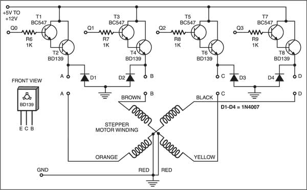 Fig. 2: Driver circuit for the stepper motor