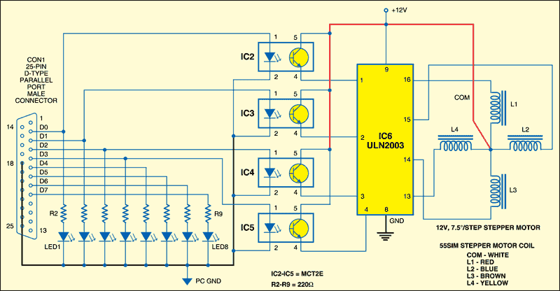 Fig.2: Interfacing circuit for controlling the LEDs and the stepper motor