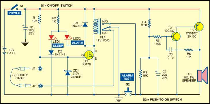 Fig. 1: Circuit for pull-pin security alarm
