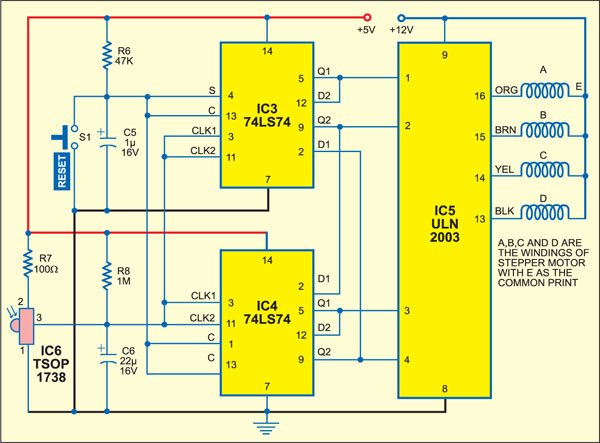 Fig. 2: Infrared receiver and stepper motor driver circuit