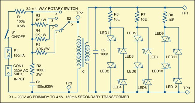 Fig. 1: Circuit of an LED lamp