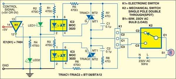 Fig. 3: Interfacing of solid-state two-way switch (K1) with mechanical two-way switch (K2)